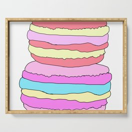2 Colorful Sweet Pastel Macarons Graphic Vector Art Serving Tray