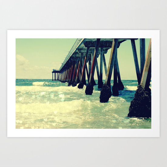 Hermosa Beach Pier Heart Bokeh Art Print