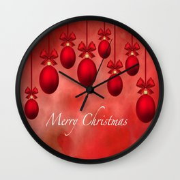 Merry Christmas Ornaments Bows and Ribbons - Red Wall Clock