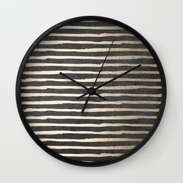 White Gold Sands Thin Stripes on Black Wall Clock