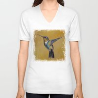 hummingbird V-neck T-shirts featuring Hummingbird by Michael Creese