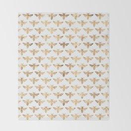 Gold Bees Patten Throw Blanket