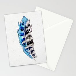 Three Blue Feathers Stationery Cards