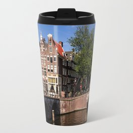 Amsterdam old town with typical canal Travel Mug