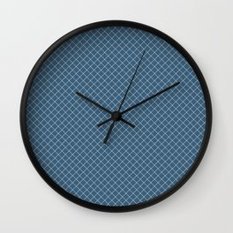 Linen White Angled Grid Line Pattern On Blue Pairs To 2020 Color of the Year Chinese Porcelain Wall Clock