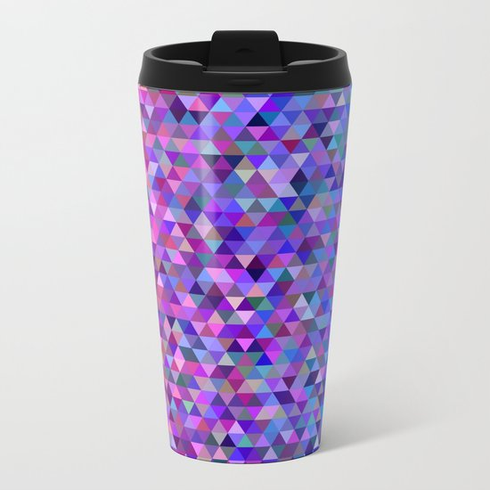 Aztec Pink & Blue Geometric Pixels Metal Travel Mug