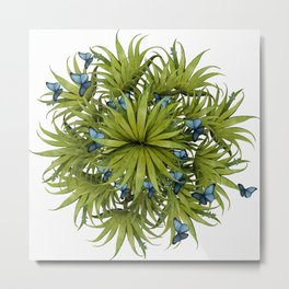 """El Bosco fantasy, tropical island blue butterflies 02"" Metal Print"