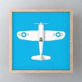 F4U Corsair Fighter Aircraft - Cyan Framed Mini Art Print