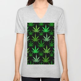 Marijuana Green Weed Unisex V-Neck