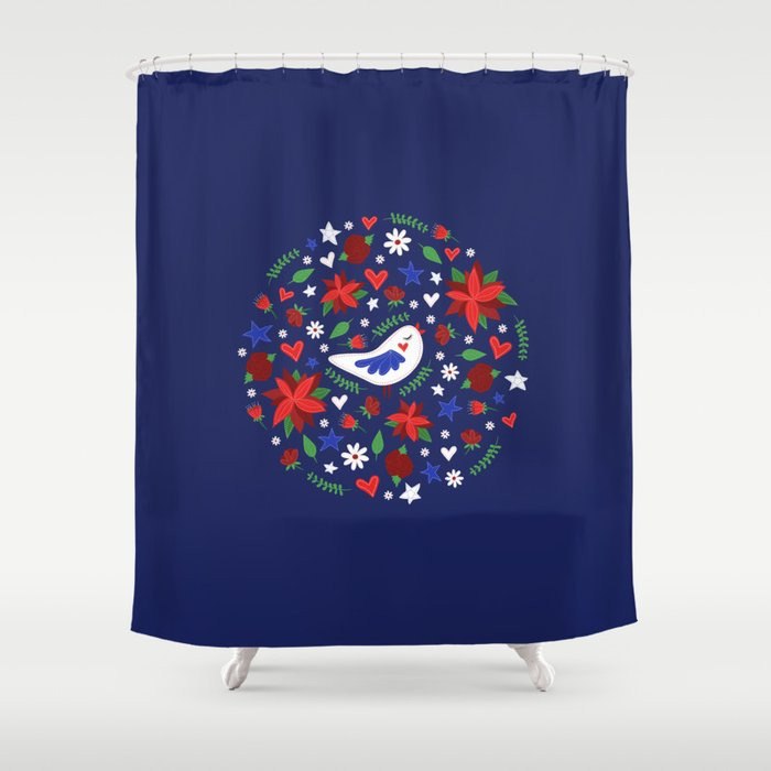 Holiday Bird Poinsettias Shower Curtain