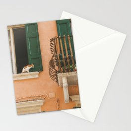 The cat on the balcony Stationery Cards