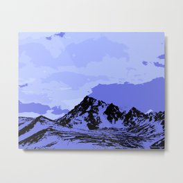 Chugach Mountain - Blue Pop Art Metal Print