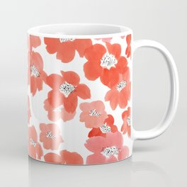 Camellia Flowers in Red Coffee Mug