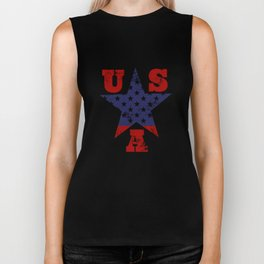 USA Flag Star Symbol Biker Tank