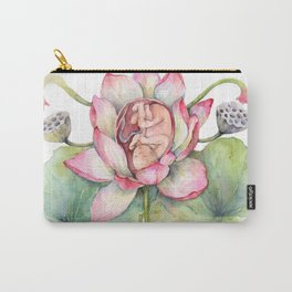 Cute Baby in a Lotus, Spring Blossom Carry-All Pouch