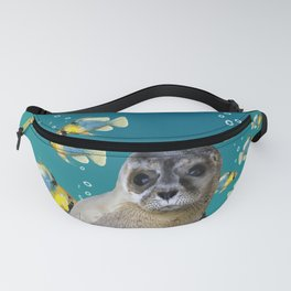 Sea Lion baby with fishes Fanny Pack