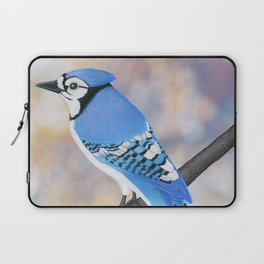 blue jay on a branch (back view) with sunkissed bokeh Laptop Sleeve
