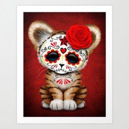 Red Day of the Dead Sugar Skull Tiger Cub Art Print