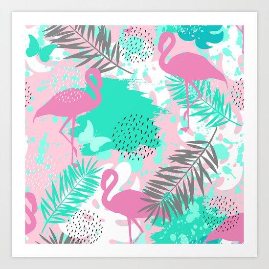 Flamingo. Abstract pattern Art Print