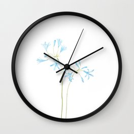 blue African lily watercolor  Wall Clock