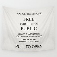 police Wall Tapestries featuring Police Box Notice by studiomarshallarts