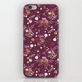 Burgundy white blush pink hand painted floral iPhone Skin