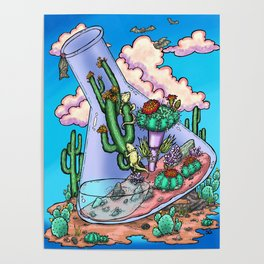 Blue Skies and Cacti Poster