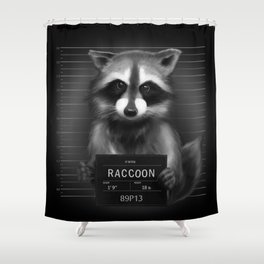 Raccoon Mugshot Shower Curtain