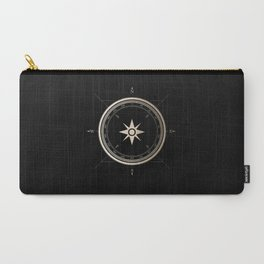 Black on Gold Metallic Compass Carry-All Pouch