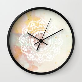 Warrior white mandala on pink Wall Clock