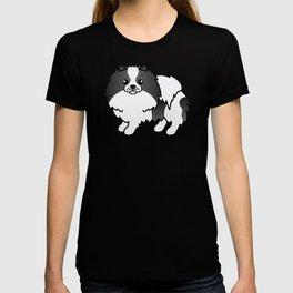 Black Parti-Color Pomeranian Dog Cute Cartoon Illustration T-shirt