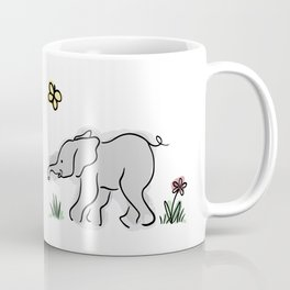 Baby Elephant with Crimson Flower and Yellow Butterfly Coffee Mug