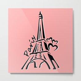 Pink Eiffle Tower Metal Print