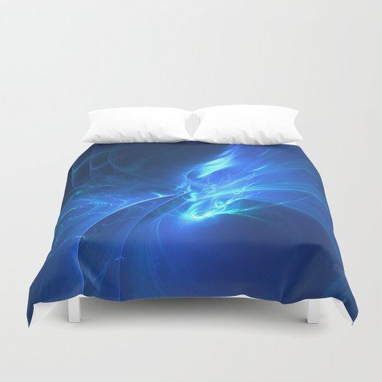 Electric Blue Fractal Duvet Cover