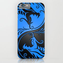 Blue and Black Yin Yang Dragons iPhone Case