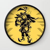 majoras mask Wall Clocks featuring Skullkid / zelda / majoras mask by tshirtsz