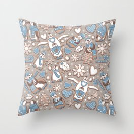 Penguin Christmas gingerbread biscuits V // brown silk background Throw Pillow