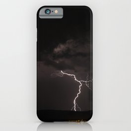 Lighting bolt during an obscure night iPhone Case