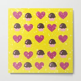Hearts and cupcakes Metal Print