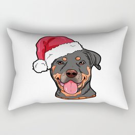 Rottweiler Boxer Dog Christmas Hat Present Rectangular Pillow