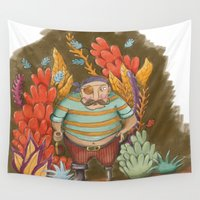 pirate Wall Tapestries featuring Pirate by Goretti Asla