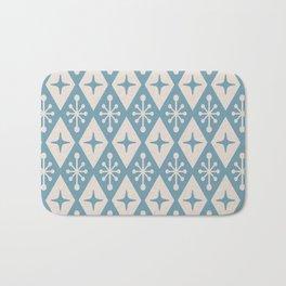 Mid Century Modern Atomic Triangle Pattern 711 Blue and Beige Bath Mat