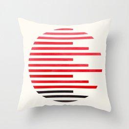 Mid Century Modern Minimalist Circle Photo Red Stripe Pattern Throw Pillow