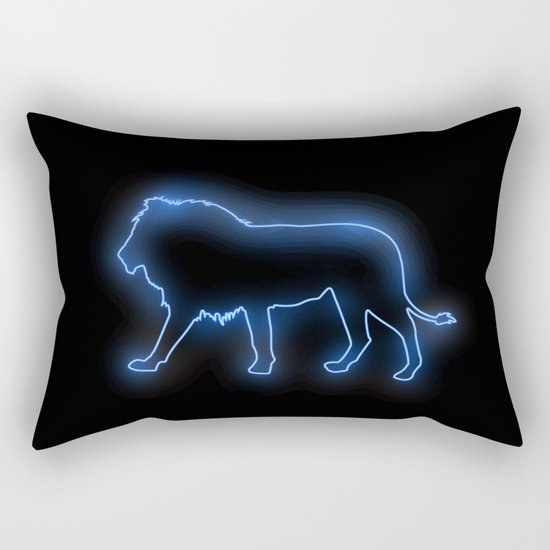 Blue Lion (Neon) Rectangular Pillow