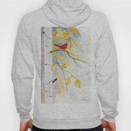 Cardinal on birch Tree Hoody