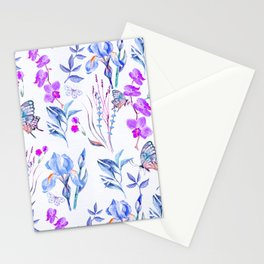 Modern purple blue watercolor hand painted orquid butterfly Stationery Cards