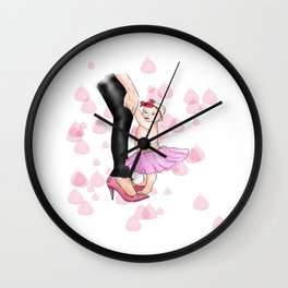 A Mothers Treasure, Digital illustration of a mother holding her baby daughters hands.  Wall Clock