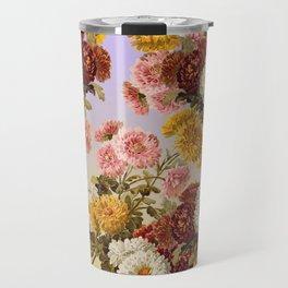 Chrysanthemum Floral Pattern on Lavender Purple Travel Mug