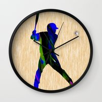 baseball Wall Clocks featuring Baseball by marvinblaine