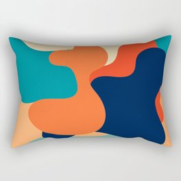 Retro 70's and 80's colorful fluid abstraction Rectangular Pillow